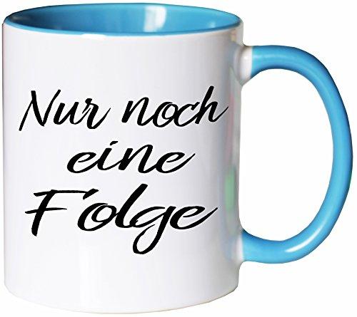 Mister Merchandise Kaffeebecher Tasse Nur noch eine Folge Netflix Prime Video netflixen Buch lesen Bücher Teetasse Becher Weiß-Hellblau