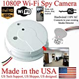 SecureGuard 1080P HD WiFi Smoke Detector Spy Camera Wireless IP Cloud P2P Wi-Fi Mobile Covert Hidden Nanny Cam Spy Camera Gadget (Replace Your existing Fire Alarm, 110V AC Quick Connector, See Pics)