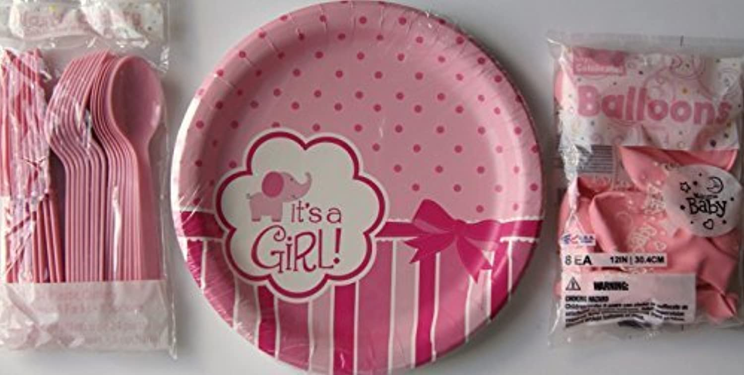 Baby Gender Reveal Party Supply Kit  Girl  Plates, Balloons, Cutlery by Way to Celebrate