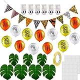 Set de 140 Decoración de Fiesta Temática Safari Jungle, Banner de Animales, Globo de Látex de Estampado de Leopardo, Hoja de Palma Tropical Artificial, Pegatina de Punto de Pegamento, Gancho Adhesivo