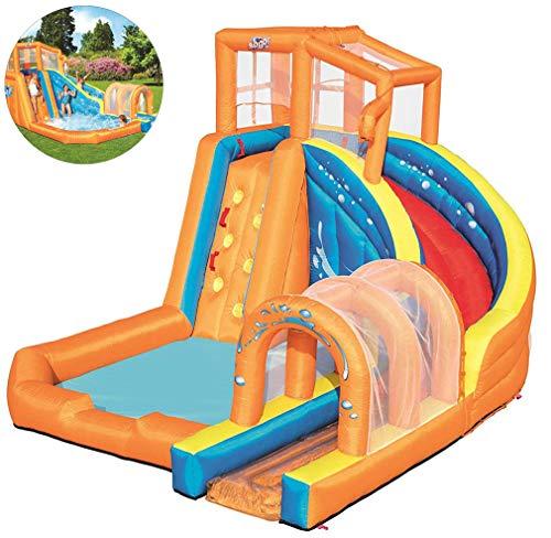 AUZZO HOME Aufblasbare Prahler Kinder Hüpfburg Wasser Spielzeug mit Rutsche Kletterbecken und Luftgebläse für Outdoor-Garten Kinderspielplatz, 420 * 320 * 260CM