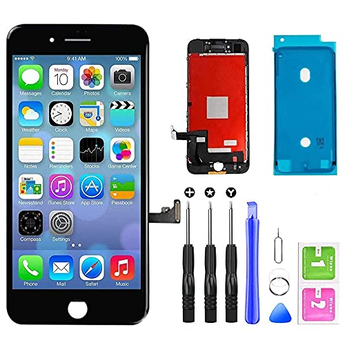 QTlier iPhone 7 Screen Replacement,LCD Display and Touch Screen Digitizer Replacement Frame Assembly with Repair Tool Kit(Black, 4.7Inch, for iPhone 7)