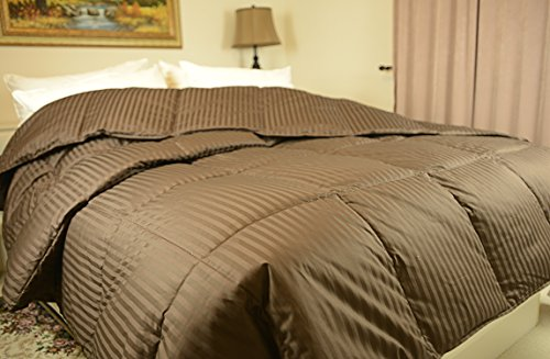 Luxlen Full/Queen Chocolate Down Comforter - 600 Fill Power, 450 Thread Count Egyptian Cotton