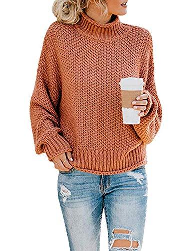 ZIYYOOHY Damen Elegant Rollkragenpullover Langarm Beiläufige Grobstrickpullover Strickpullover Sweatshirts (L, Ziegelrot)