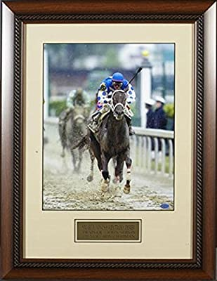 Smarty Jones WINS The 2004 Kentucky Derby Framed Photo SIZE: 16x20 - Framed Size 25x24 - Autographed Horse Racing Photos