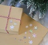 Adorfine 100g Metallic Konfetti Weihnachten Glitzer Schneeflocken zum Aufbügeln, Fensterdeko Streudeko Weihnachtsbaum Dekorationen Christbaumschmuck(Silber) - 5