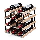 BOGENA® aus Holz - im einzigartigen Design - in 3 Varianten erhältlich - stabil, langlebig & modern - Elegantes Flaschenregal für Ihre heimische Weinsammlung (12 Flaschen)