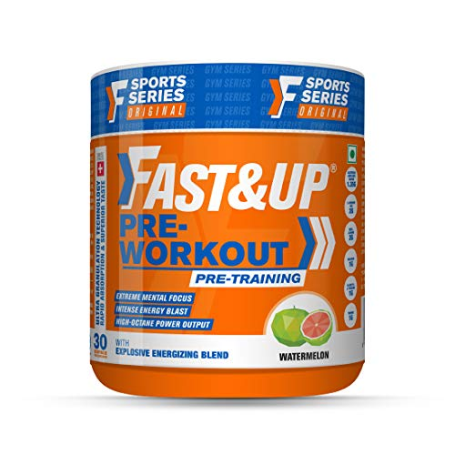 Fast&Up Pre-Workout Supplement (30 Servings, Watermelon Flavour) | Pre Workout Supplement For Men & Women with B-Alanine, Creatine, Taurine For Performance & Energy Boost