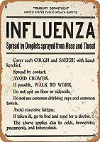 アメリカ合衆国インフルエンザ警告、錫サインヴィンテージ面白い生き物鉄の絵金属板ノベルティ