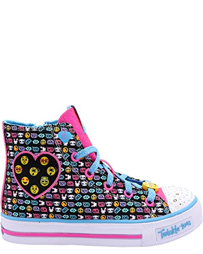 Skechers Twinkle Toes Shuffles Giggle Up Girls Light Up High Top Sneakers Black/Multi 1.5