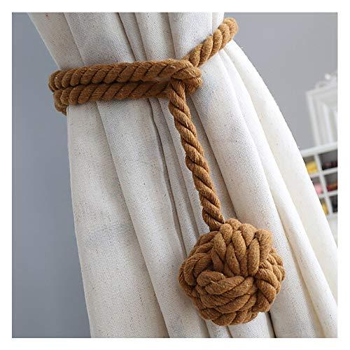 Un par de hecho a mano cortina alzapaños, vankra borla alzapaños bola de algodón cuerda cortina accesorios