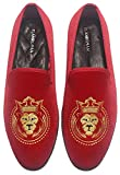 ELANROMAN Red Men Loafers Velvet Embroidered 2.0 Shoes Wedding Party Prom Penny Slippers Slip on Loafers Shoes for Men US 9 EUR 42 Feet Lenght 285mm