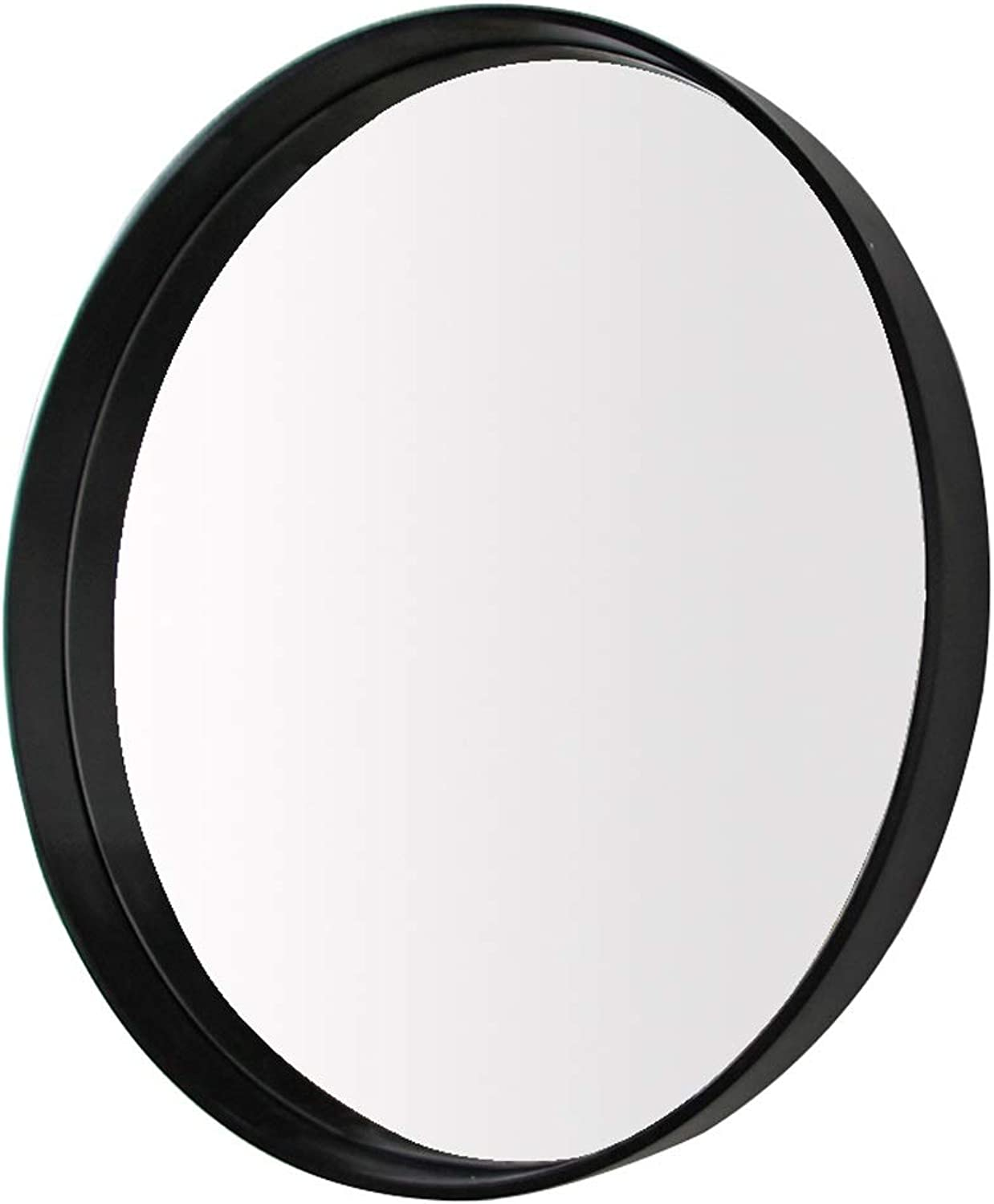 HELIn Modern Black Circle Frame Wall Mirror   Contemporary Premium Silver Backed Floating Round Glass Panel   Bedroom, or Bathroom   Hanging (Size   60CM)