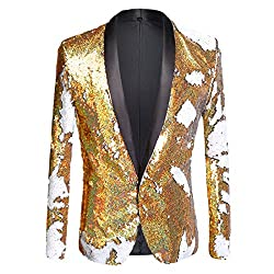 Gold + White01 Color Conversion Shiny Sequins Blazer