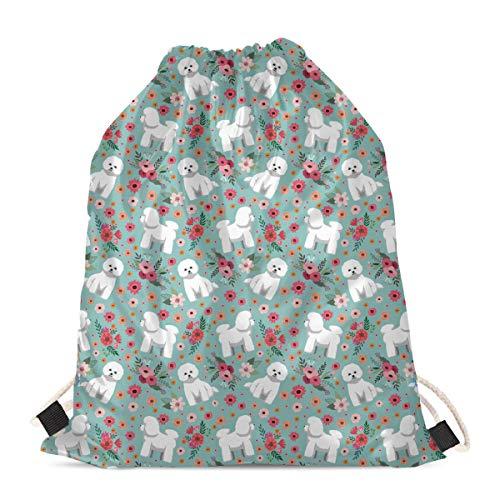 Woisttop Bolsa de cordón duradera para el hombro, bolsa de gimnasio, mochila de cuerda para niñas, niños, adolescentes, adultos, Mujer, Flor de perro, Talla única