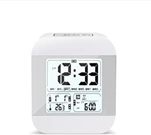 WANGZZZ Alarm Clock Student Creative Bedside Electronic Clock Intelligent Light Sensitive Mute Child LED Alarm Clock White Induction Time