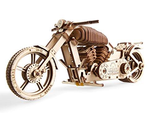 UGEARS maqueta Moto para Montar - Motocicleta Puzzle 3D Adultos - Modelo mecánico de Moto uniqo - maquetas Madera - Rompecabezas Madera 3D para Construir - Kits de construcción 3D (Motocicleta VM-02)