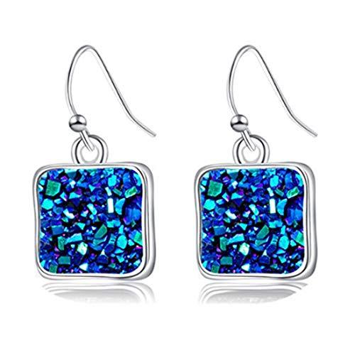 yichahu Pendientes cuadrados para mujer, diseño de Druse Love con piedra natural cuadrada concisa, regalo (plata + azul)