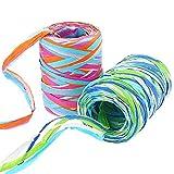 Rayong 2 cintas de papel de rafia de colores de 80 m/rollos, cinta de rafia para manualidades, caja de regalo, para regalos de festivales, caja de regalo, decoración y manualidades