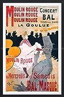 絵画風 壁紙ポスター (はがせるシール式) ロートレック ムーラン・ルージュ La Goulue ポスター 1891年 【額縁印刷/トリックアート】 キャラクロ K-LRB-002SGF2 (400mm×603mm) 建築用壁紙+耐候性塗料