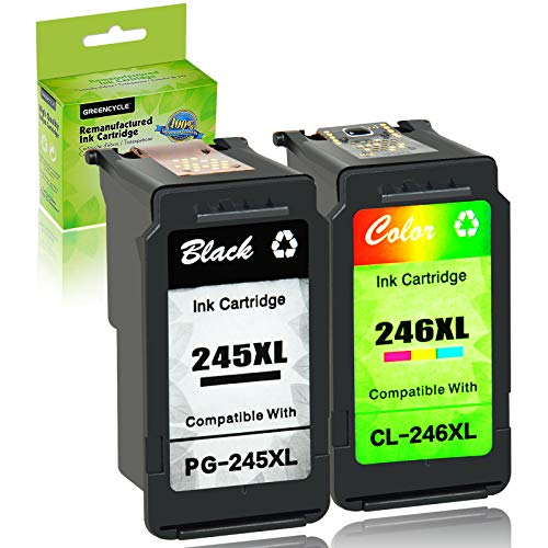 GREENCYCLE Re-Manufactured PG-245XL 245 XL CL-246XL CL-246 Ink Cartridge Compatible for Canon Pixma MX490 MX492 IP2820 MG2420 MG2520 MG2522 MG2525 MG2920 MG2922 (Black, 1 Pack; Tri-Color, 1 Pack)