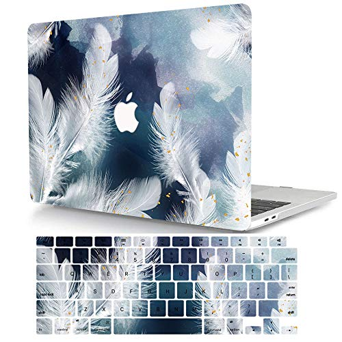 ACJYX Compatible with MacBook Air 13 Retina Case 2020 2019 2018 Release A2337 M1 A2179 A1932 with Touch ID, Plastic Protective Hard Shell Cover & Keyboard Cover Skin - White Feathers