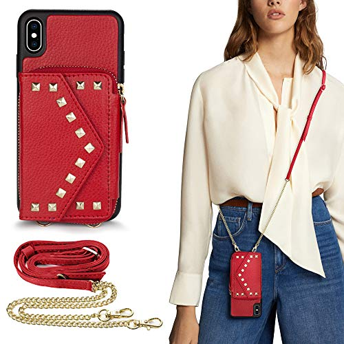 iPhone X Crossbody Zipper Case Wallet, LAMEEKU iPhone Xs Rivet Card Slot Leather Cover, TPU Shockproof Kickstand Magnetic Clasp Purse Case for Women with Wrist Strap for iPhone X/Xs, 5.8 inch- Red
