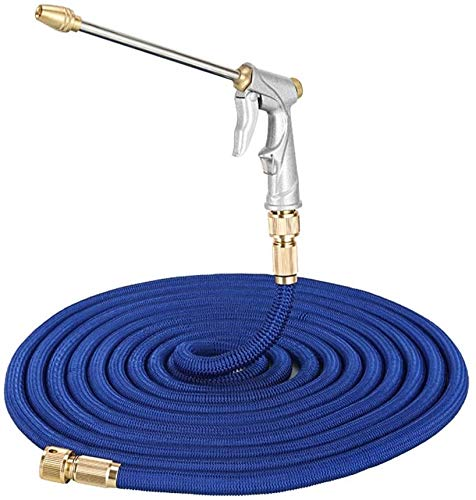 Hoses Water Pipe Garden Nozzle Spray Gun High Pressure Metal Car Wash Water Gun Set Household Garden Car Wash Watering Lawn ZSMFCD (Color : Blue, Size : 100ft)