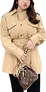 Women's Button Down Double-Breasted Trench Coat with Belt Plus Size Wrap Jacket