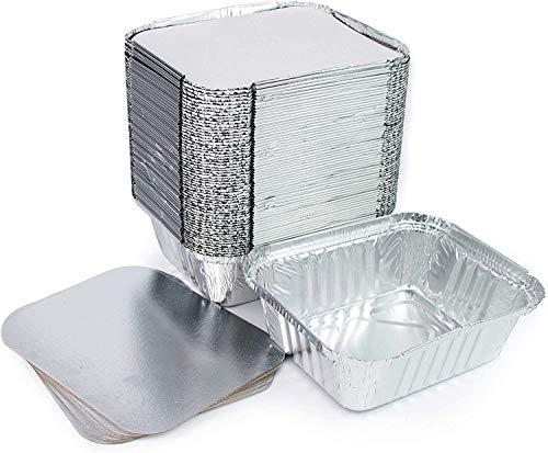 ACESA Lote de 100 bandejas de aluminio desechables con tapa para transportar alimentos, congelar, cocinar (1 compartimento de 500 ml)