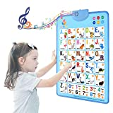 MOFANG Electronic Interactive Alphabet Wall Chart, Talking ABC & 124s & Music Poster, Best Educational Toy for Toddler. Kids Fun Learning at Daycare, Preschool.Blue