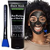 SHILLS Charcoal Black Mask, Blackhead Remover, Pore Control, Skin Cleansing, Purifying Bamboo Charcoal, Peel Off Black Mask, Smart Beauty, Blue Brush 1 Bottle(1.69 fl. oz)