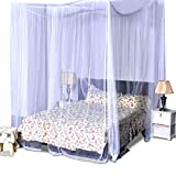 COSTWAY Moskitonetz für Doppelbett, Mückennetz aus Polyester, Bett Fliegennetz, Betthimmel inkl. Haken, Bettdekoration 220 x 200 x 210 cm(Weiß)