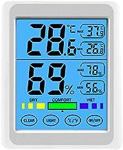 iplusmile termómetro ch-914 Pantalla táctil Luminoso Interior Exterior Exterior termómetro higrómetro de Alta precisión con Reloj para Oficina en casa habitación de bebé (Blanco)