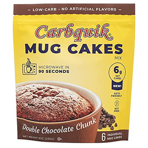 Carbquik Keto Mug Cakes (6 Pack) Keto-Friendly Dessert, Low in Net Carbs, Rich Chocolate Flavor, Ready in Just 90 Seconds, Nut-Free (Double Chocolate Chunk)