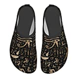 Ancient Egyptian Hieroglyphs Black Gold Water Shoes Quick-Drying Outdoor Barefoot Water Sports Shoes Beach Yoga Unisex