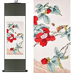 Features Chinese Style Silk Chinese Watercolor Flower Bird Camellias Red Bird Ink Art Photo Canvas Feng Shui from Wall Damask Framed Roller 100X30CM Painting, Green Packet, Color: Green Package