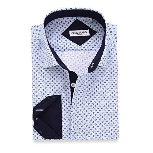 Alex Vando Mens Printed Dress Shirts Long Sleeve Regular Fit Fashion Shirt,Lt Blue863,Large