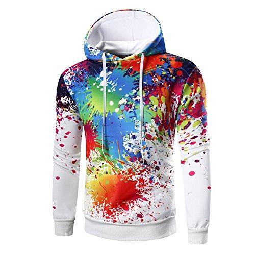 KPILP Kapuzenpullover Männer Hoodie Mit Kapuze Dicke Warme Lange Ärmel Oberteile Digitaldruck Sweatshirt Tops Coat Outwear(Weiß,EU-58/CN-2XL)