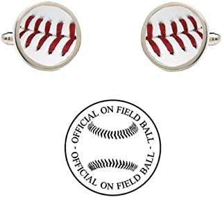 Official On Field Leather Baseball Cufflinks with Gift Box (San Diego)