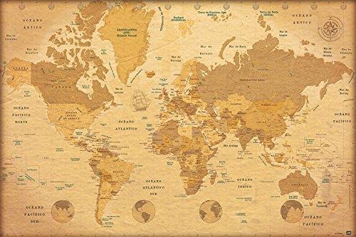 Grupo Erik Editores Poster Mapa Mundo Vintage