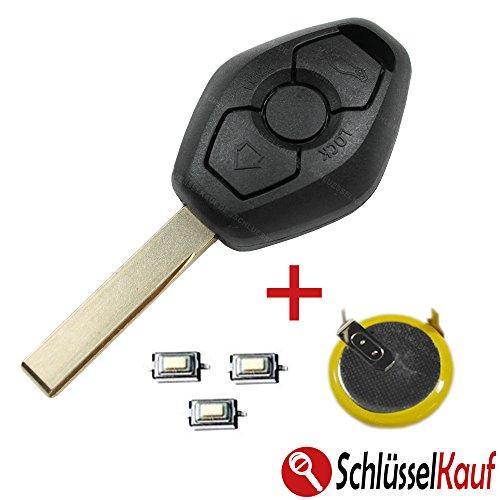 Carcasa de llave de coche con 3botones, E39E46E53E60E65X5HU92en blanco, 1pila LIR2025, 3microbotones