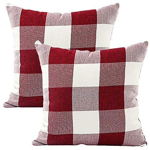 JOTOM Throw Pillow Covers Pillowcase Outdoor Cushion Cover for Home Sofa Car Garden Decorative,Set of 2,45 x 45cm (Checkered|Red White)