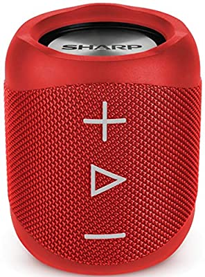 SHARP GX-BT180(RD) Portable Bluetooth Speaker, Wireless Stereo Sound, Splashproof Rechargeable Compact Speaker with Call Answering, Google & Siri Compatible – Red by Sharp