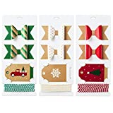 Hallmark Holiday Gift Wrap Accessory Kit (Red Truck, Tree, Snowflake) 6 Gift Bows, 12 Gift Tags, 9 Yards of Twine - Kraft, Red, Green, White