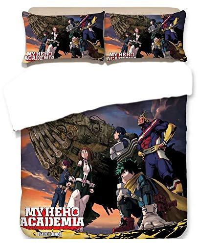 Fuehox Capa de Edredom Luxuosa com 2 Fronhas 3D Anime My Hero Academia Conjunto de Cama de Microfibra Infantil Meninos Presente de Aniversário (Sem Edredom), 21, TWIN172×218cm