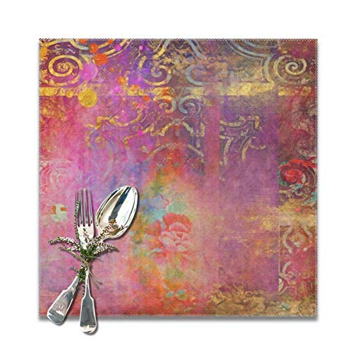Juego de 6 manteles individuales de rosa bohemio, lavables, antideslizantes, cuadrados, 30,5 x 30,5 cm, para cocina, comedor, decoración del hogar