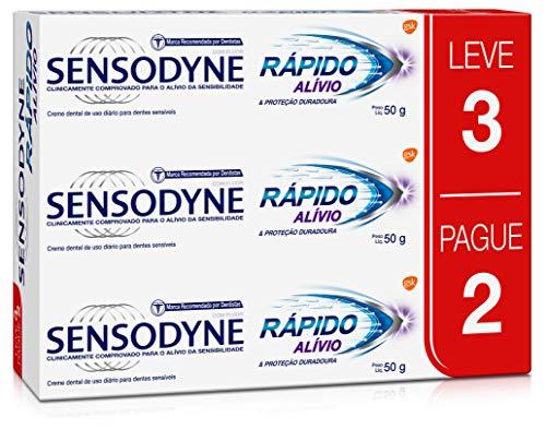Kit Leve 3 Pague 2 Creme Dental Rápido Alívio para Dentes Sensíveis, Sensodyne, Branco, 50g