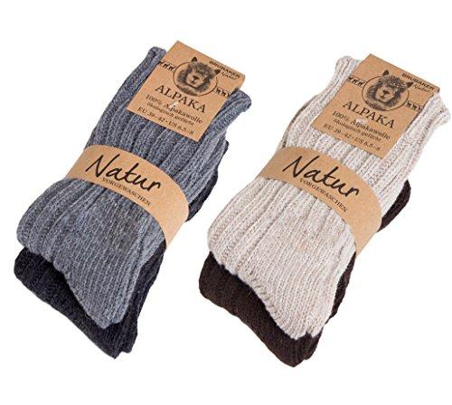 Brubaker 4 Paar dicke flauschige warme Alpaka Socken 100% Alpaka 43-46