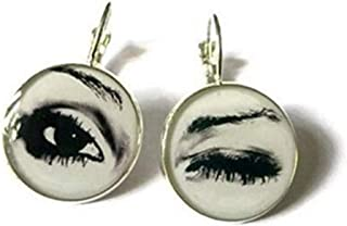 Open Close Eye Eyelashes Earrings , Black and White Earrings , Eyes Earrings, Eye Jewelry ,Open Close Eye Dangle Earrings